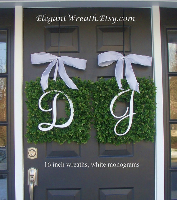 Monogram Boxwood Wreath, Monogram Wedding Wreath, Spring Wreath,  Housewarming Gift, Wedding Wreath, Summer Wreaths THIN WREATH Storm Doors