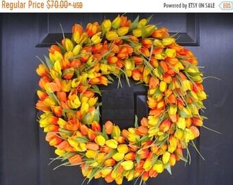 SUMMER WREATH SALE Spring Wreath, Tulip Spring Wreath Custom, Spring Decor, Easter Wreath, Housewarming Gift, Orange Tulip Wreath