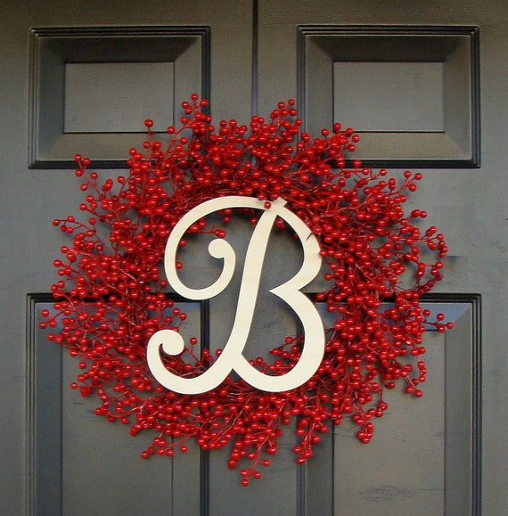 Door Wreath- Monogram Wreath- Red Berry Wreath- Christmas Wreath- Holiday Wreath- Valentine's Day Wreath- Monogram Letter