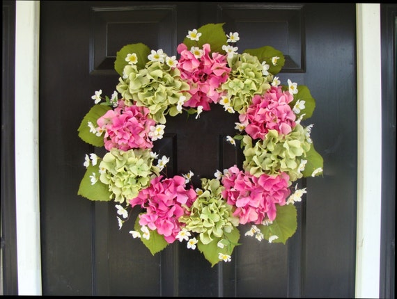 Hydrangea Spring Wreath- Hydrangea Wreath- Summer Wreaths- Wedding Wreath- Spring Decor- Spring Wreath