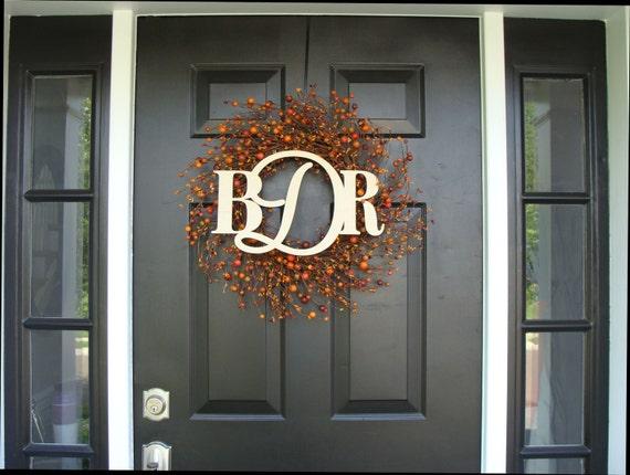 Fall Monogram Berry Wreath- Custom Berry Monogram Wreath- Fall Wreath with Monogram- Berry Wreath Door Monogram  20 inch Shown