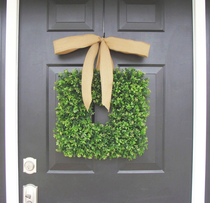 16 inch Square Boxwood Wreath Spring Wreath Housewarming image 0