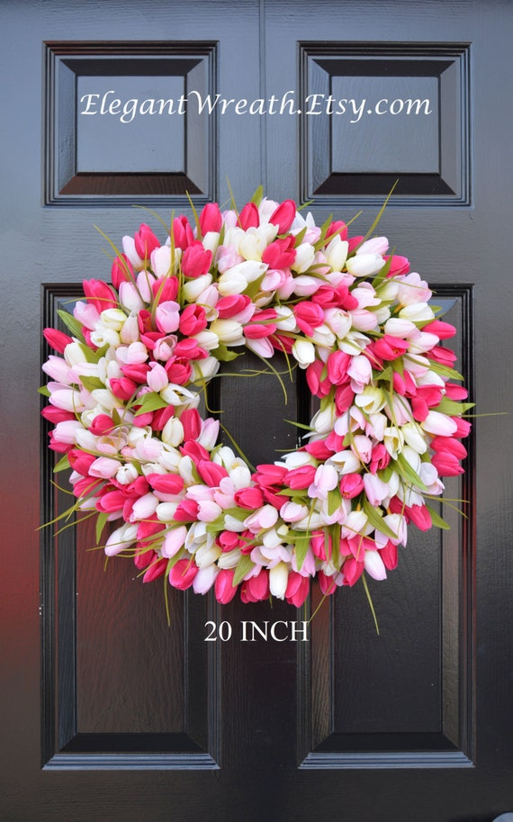 Spring Wreath- Tulip Spring Wreath- Summer Wreath- Custom Front Door Wreath- Spring Decor- Easter Decoration- Outdoor Wreath