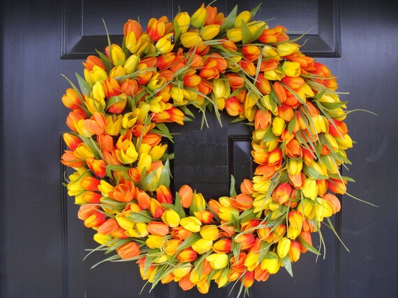 Spring Wreath, Tulip Spring Wreath Custom, Spring Decor, Easter Wreath, Housewarming Gift, Orange Yellow Tulip Wreath- Sunshine, Sunny days
