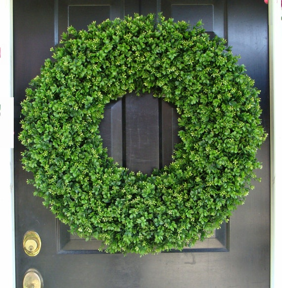 Outdoor Door Wreath All Seasons Artificial Boxwood Wreath, XXL Front Door Decor