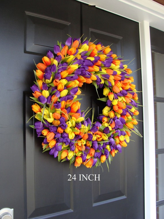 Custom Spring Wreath- Door Wreath- Tulip Wreath Custom Colors- Summer Wreath- Outdoor Spring Decor