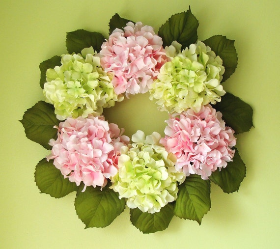 Spring Hydrangea Wreath, Girls Room Decor, Shabby Chic Decor, Wall Art, Bedroom Decor, Baby Nursery Decor, Wall Decor