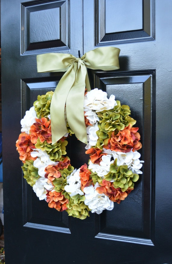 Fall Wreath, Hydrangea Fall Wreath,Thanksgiving Wreath, Fall Decor, Sage, Orange Pumpkin Spice Fall Wreath
