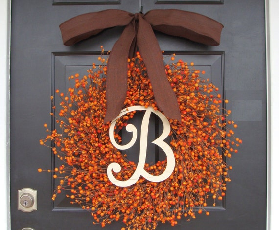 Thanksgiving Decor Thanksgiving Wreath- Berry Fall Wreath with Burlap Ribbon- Hostess Gift - Pumpkin, XXL 18-24 inch Fall Decor