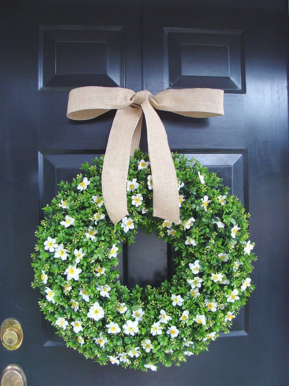 Spring Wreath, Spring Boxwood Wreath, St. Patrick's Day Wreath, Year Round Boxwood Wreath with Silk Flowers 20 inch