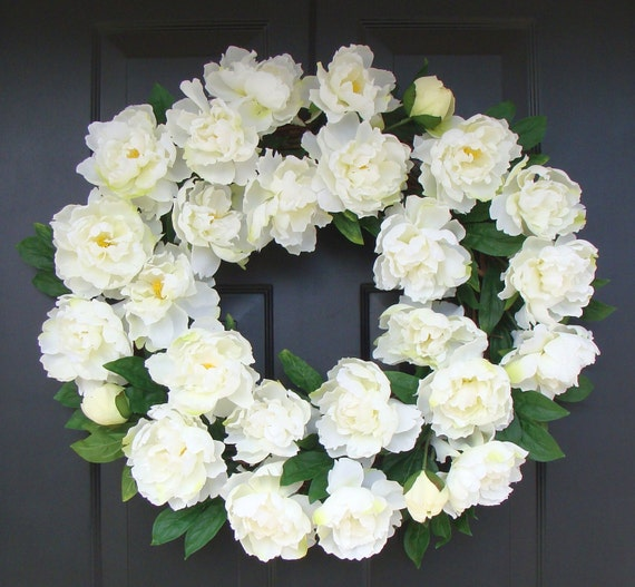 White Summer Wreath- Wedding Wreath- White Peonies- Peony Wreath- Wedding Decor- Summer Wreath Decor- 24 INCH Year Round Wreath