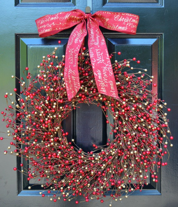 Berry Wreath- Red and Gold Wreath-Door Wreath-Christmas Wreath-Winter Wreaths Wedding Decor-Holiday Wreath-Holiday Decoration FREE SHIPPING
