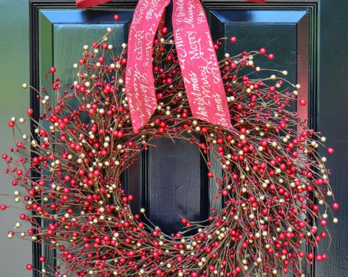 SALE Red and Gold Berry Wreath-Door Wreath-Christmas Wreath-Winter Wreaths Wedding Decor-Holiday Wreath-Holiday Decoration