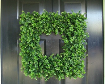 Superb Custom Square Boxwood Wreath, Artificial Boxwood Wreath, Square Outdoor  Decor, Front Door Wreaths
