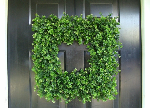 Square Boxwood Wreath, Artificial Boxwood Wreath, Square Outdoor Decor,  Front Door Wreaths
