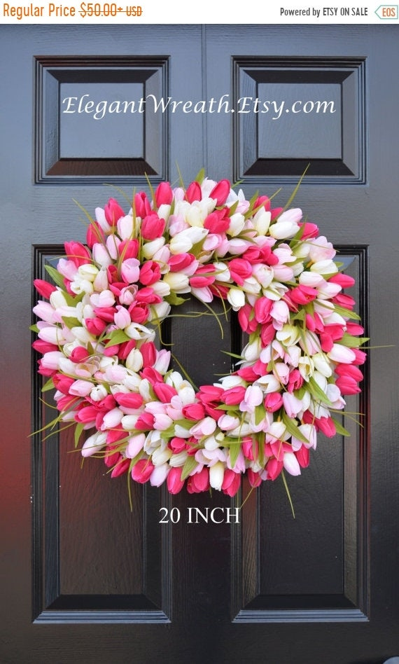 Spring Wreath- Tulip Spring Wreath- Summer Wreath- Custom Front Door Wreath- Spring Decor- Easter Decoration- Outdoor Wre