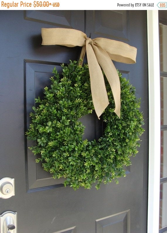 SUMMER WREATH SALE Thin Boxwood Wreath- Fall Door Wreath- Artificial ...