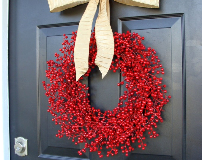 Berry Wreath Etsy Fall Wreath- Christmas Wreath- Winter Holiday Wreath- Valentine's Day Decor- WEATHERPROOF Berries