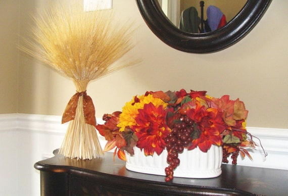 Fall Decoration- XL Wheat Sheath- Thanksgiving Centerpiece- Fall Decor Mantle or Table Decor