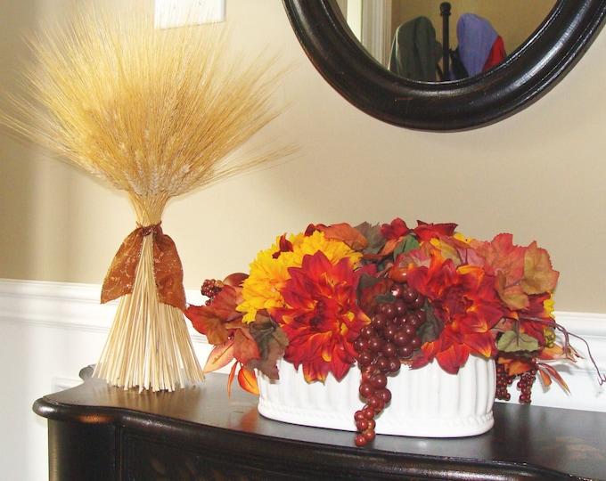 Fall Decoration- XL Wheat Sheath- Thanksgiving Centerpiece- Fall Decor Mantle or Table Decor