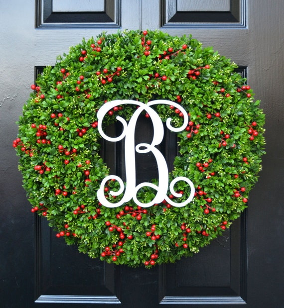 Berry Boxwood Monogram Christmas Wreath- Holiday Monogram Wreath- Christmas Boxwood Wreath-Weatherproof Berry Winter Wreath-Christmas Decor