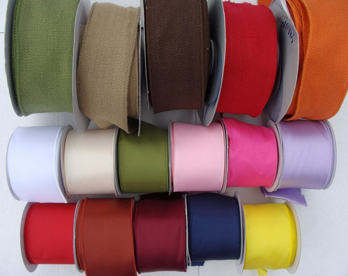 2.5 Inch Wired Satin or Burlap Ribbon by the Yard, Burlap Bows, Wreath Bow, Wedding Bow, Pew Bows 10 yard increments