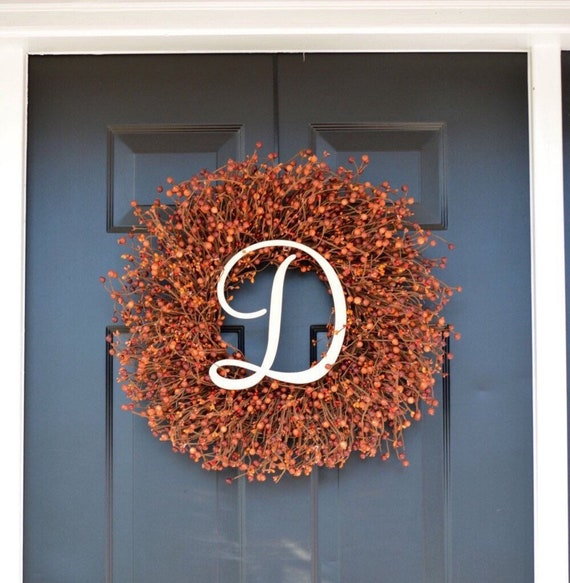 Fall Decor Berry Wreath- Thanksgiving Wreath- Berry Fall Wreath- Hostess Gift - Pumpkin, XXL 18-22 inch Thanksgiving Decor