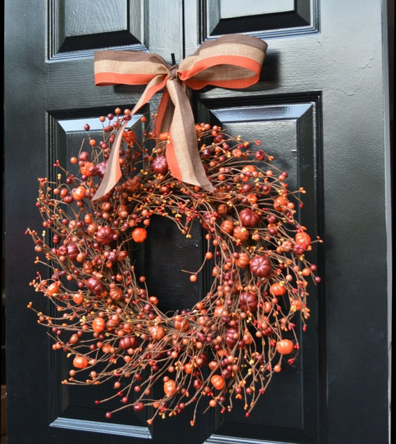 Pumpkin Pie Fall Wreath,Thanksgiving Wreath Berry Wreath, Fall Decor, Thanksgiving Decor XL 19, 22 Inch Sizes Available LIMITED QUANTITIES