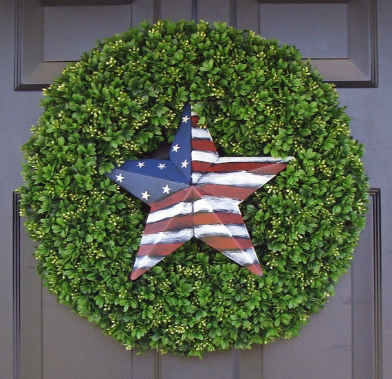 American Flag Star Patriotic Wreath- July 4th Wreath- July 4th Decoration- Patriotic Decoration- July 4th Wreath- Holiday Wreath