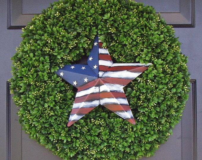 American Flag Star Patriotic Wreath- July 4th Wreath- July 4th Decoration- Patriotic Decoration- July 4th Wreath- Holiday Wreath