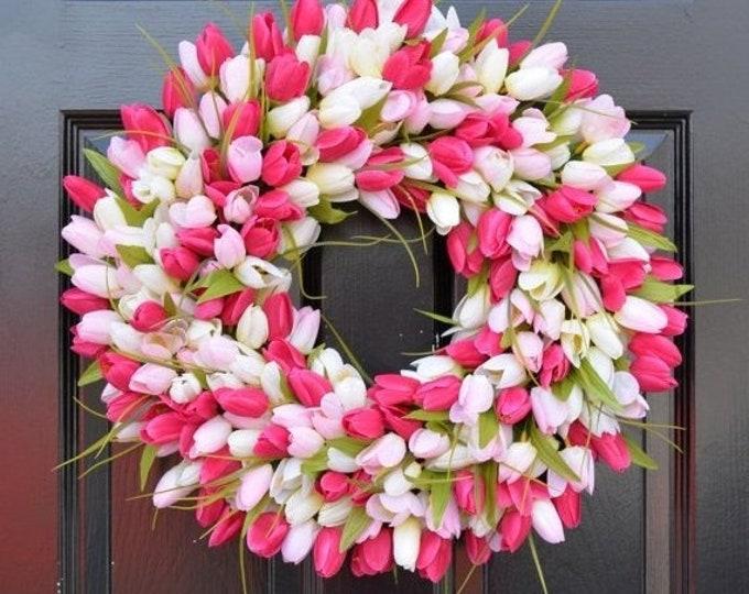 BESTSELLER Spring Wreath- Tulip Spring Wreath- Summer Wreath- Custom Front Door Wreath- Spring Decor- Easter Decoration- Custom colors