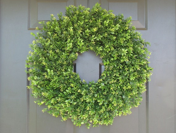 Faux THIN Artificial Boxwood Wreath, Storm Door Wreaths, Front Door Outdoor Wreath, Year Round Door Decor, Sizes 14-24 inch available