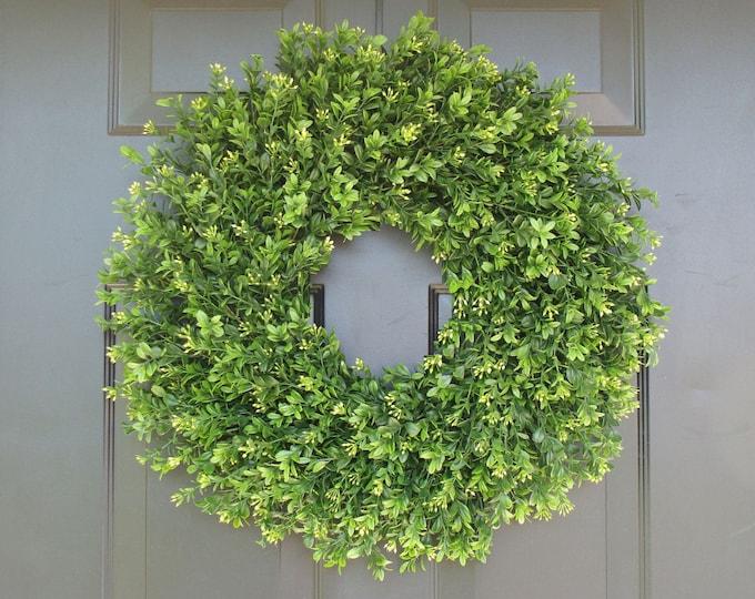 Farmhouse Artificial Boxwood Wreath, Farmhouse Wreath, Greenery Wreath Storm Door Wreath,Front Door Outdoor Farmhouse Decor Sizes 12-24 inch