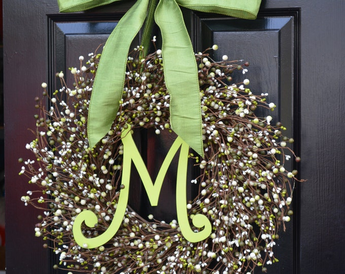 Spring Berry Wreath, St Patricks Day Wreath, Spring Berry Wreath with Monogram, Outdoor Spring Wreath, Easter Decorations, Front Door Decor