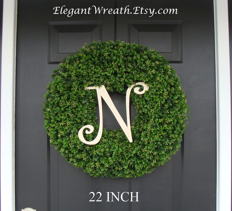 Boxwood with Burlap Bow Spring Decor Monogram Spring Wreath Outdoor Door Hanging Faux Boxwood Wreath Fall Wreaths