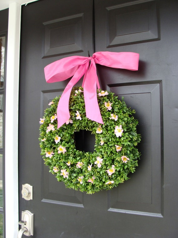 Pink Boxwood Spring Wreath- Breast Cancer Awareness- Pink Summer Wreath- Year Round Wreath- 16 INCH Shown- other sizes available