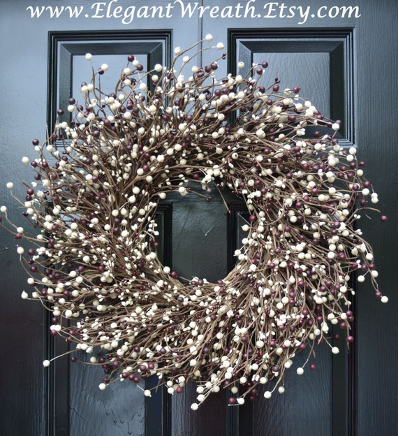 Door Wreath, Holiday Berry Wreath, Burgundy Cream Christmas Wreath, Cottage Chic Decor, Primitive Wreath, Rustic Decor, Christmas Wreath