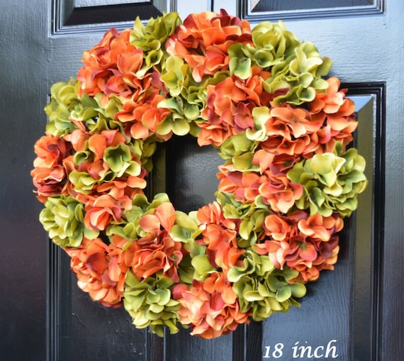 Custom Fall Wreaths Monogram Hydrangea Wreath Fall Monogram Wreath, Orange Hydrangea Wreath, Fall Decor Halloween Decor