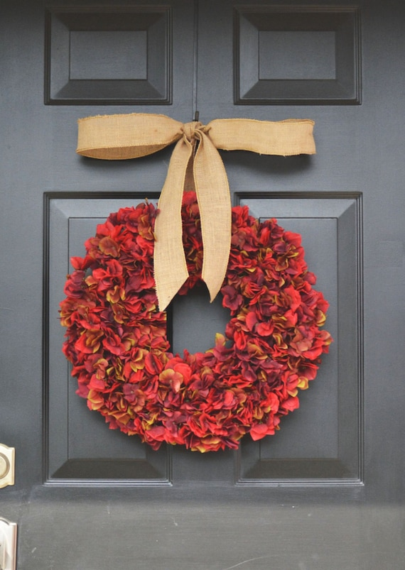 Essence of Fall Hydrangea Wreath- Fall Wreath- Fall Decor- Fall Hydrangeas Wreath Burlap Ribbon- Pumpkin Decoration- Pumpkin Decor- Wreaths