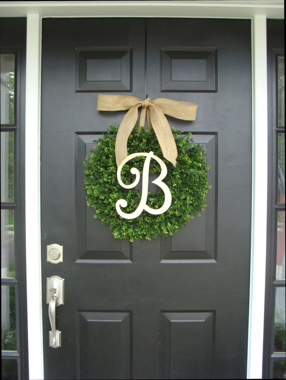 Monogram Boxwood Wreath, Boxwood Monogram Wreath with Burlap Bow, Housewarming Gift, Wedding Wreath 20 INCH