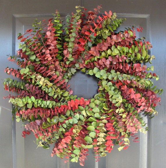 Eucalyptus Wreath-Custom Preserved 24 Inch Wreath- Spring Wreath- Preserved Dried Floral Wreath- Choose your Color Combination