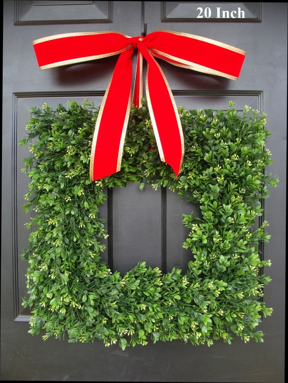 Square Artificial Boxwood Holiday Wreath Christmas Wreath- Christmas Decor- Christmas Decoration- Evergreen Alternative, 14-22 inches