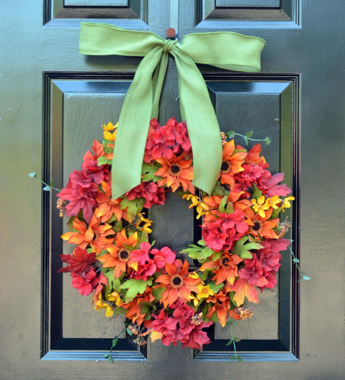 Silk Floral Wreath  Fall Wreaths  18 Inch  Flower Wreath  Front Door  Decoration  Year Round Decor  Flower Decoration  Autumn Wreaths