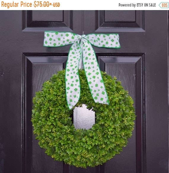 SUMMER WREATH SALE Shamrock Boxwood St Patrick Day Wreath St Patricks Day Boxwood Wreath- Irish Decor- Door Wreath- Removable Bow Year Round
