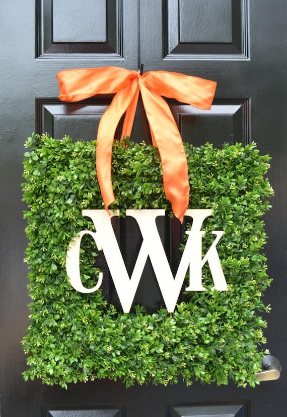 Square Monogram Boxwood Fall Wreath, Boxwood Monogram Wreath, Outdoor Year Round Wreath, Housewarming Gift, Wedding Wreath 24 INCH shown