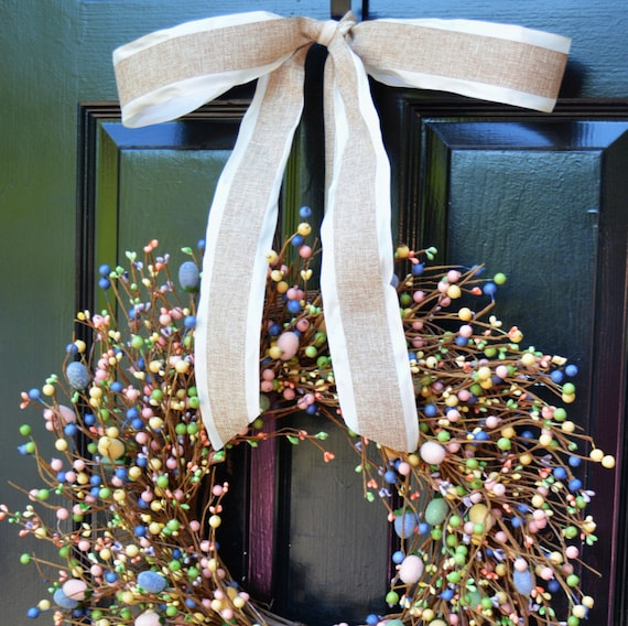 Easter Wreath- Pastel Door Wreath- Spring Wreath- Easter Egg Decor- Easter Decoration- Berry Wreath- Easter Berry Wreath- Spring Decor