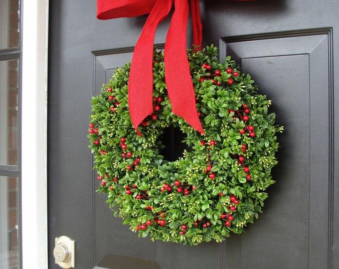 Christmas Berries Boxwood Holiday Wreath Christmas Wreath Designer Ribbon, Boxwood Wreath, Berry Wreath, Winter Wreath