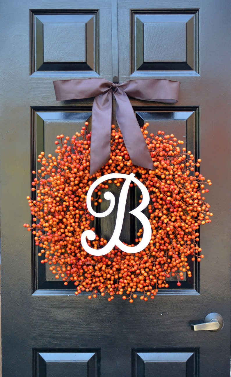 Fall Berry Wreaths  Monogram Fall Wreaths Orange Pumpkin monogram and bow 24 inches