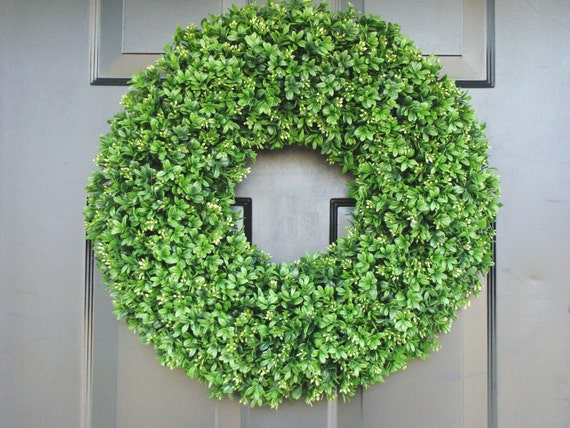 Boxwood Wreath- Summer Wreaths- Outdoor Decor- Wall Art- Shabby Chic Decor- Faux Boxwood Wreath-Wedding Wreath- Spring Decor 20 inch