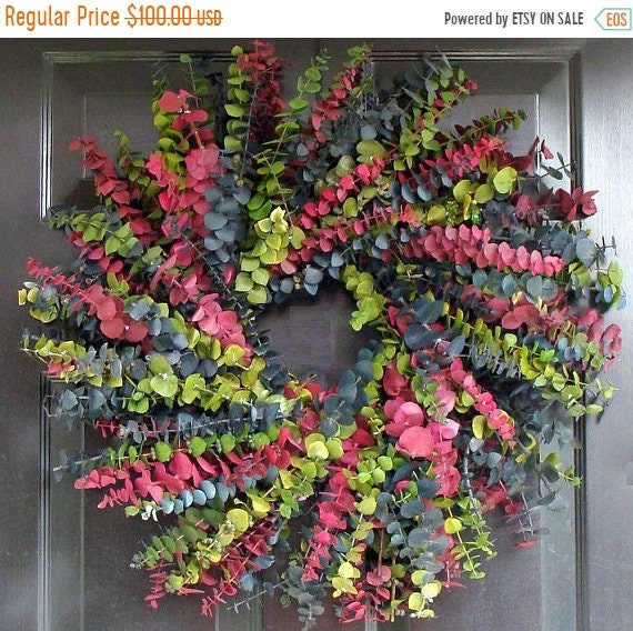 SUMMER WREATH SALE Eucalyptus Wreath-Custom Preserved 24 Inch Wreath- Spring Wreath- Preserved Dried Floral Wreath- Choose your Color Combin